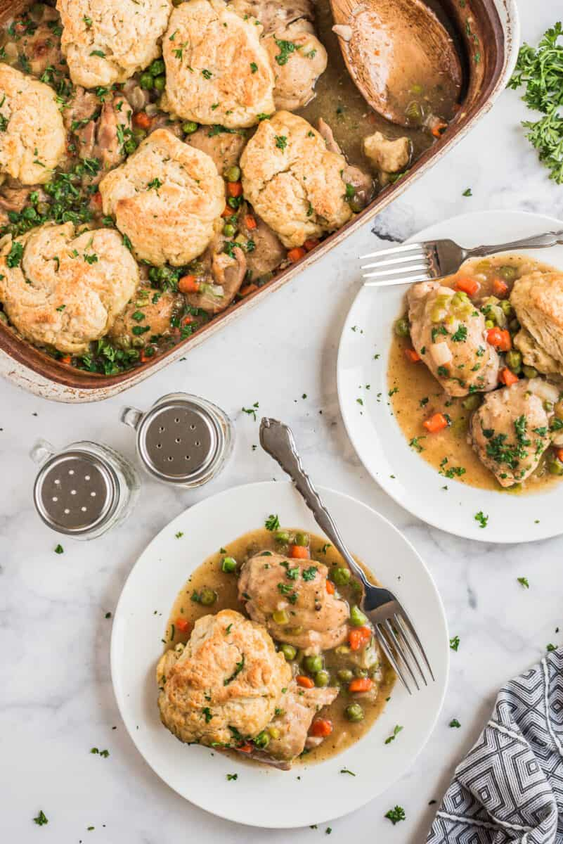 chicken biscuit bake in two white bowls