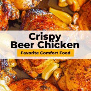 crispy beer chicken pinterest collage
