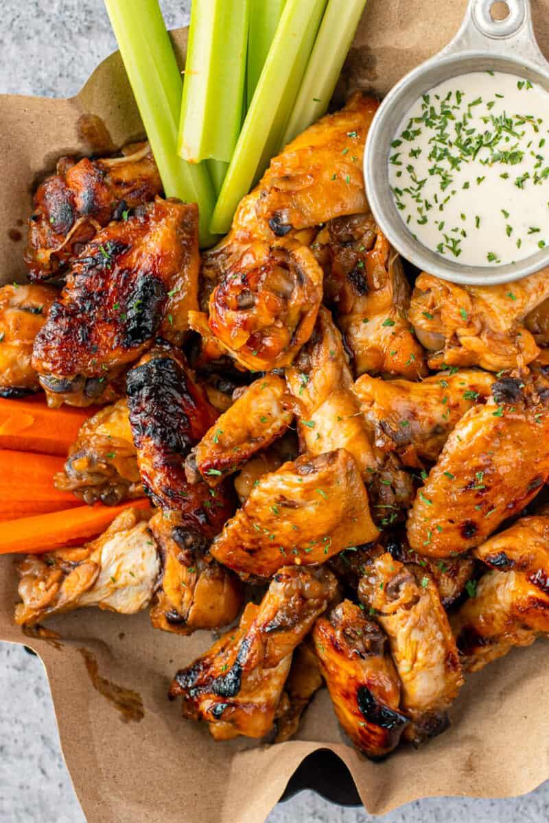crockpot honey bourbon chicken wings on platter