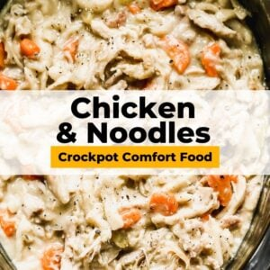 crockpot chicken and noodles pinterest collage