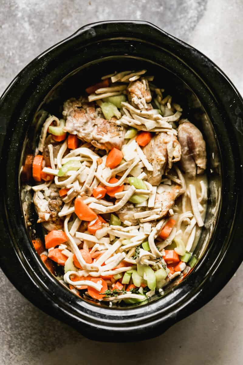crockpot chicken and noodles before cooking