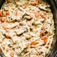 up close image of crockpot chicken and noodles