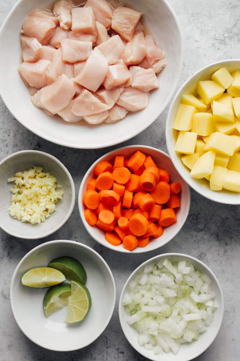ingredients for yellow chicken curry in crockpot