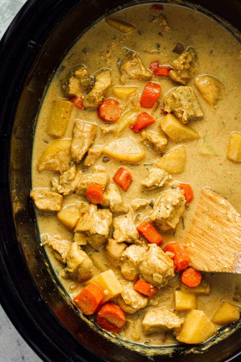 crockpot chicken curry in slow cooker