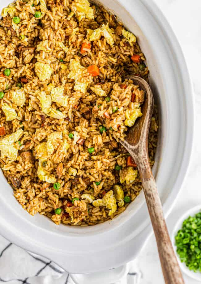 crockpot chicken fried rice in slow cooker