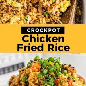 crockpot chicken fried rice pinterest collage