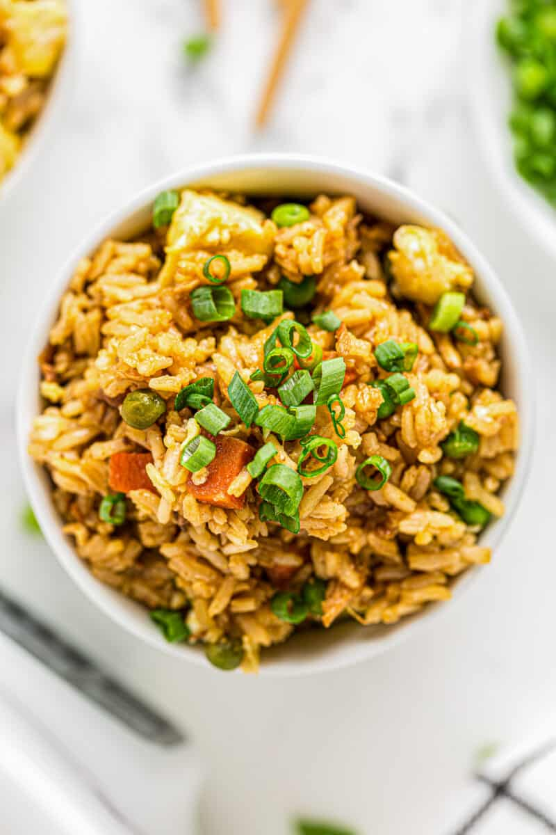 bowl of crockpot chicken fried rice