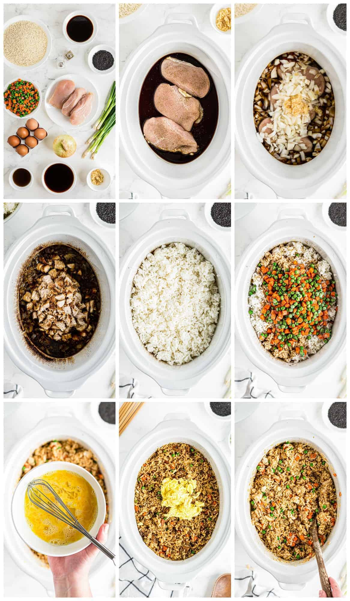 how to make crockpot chicken fried rice