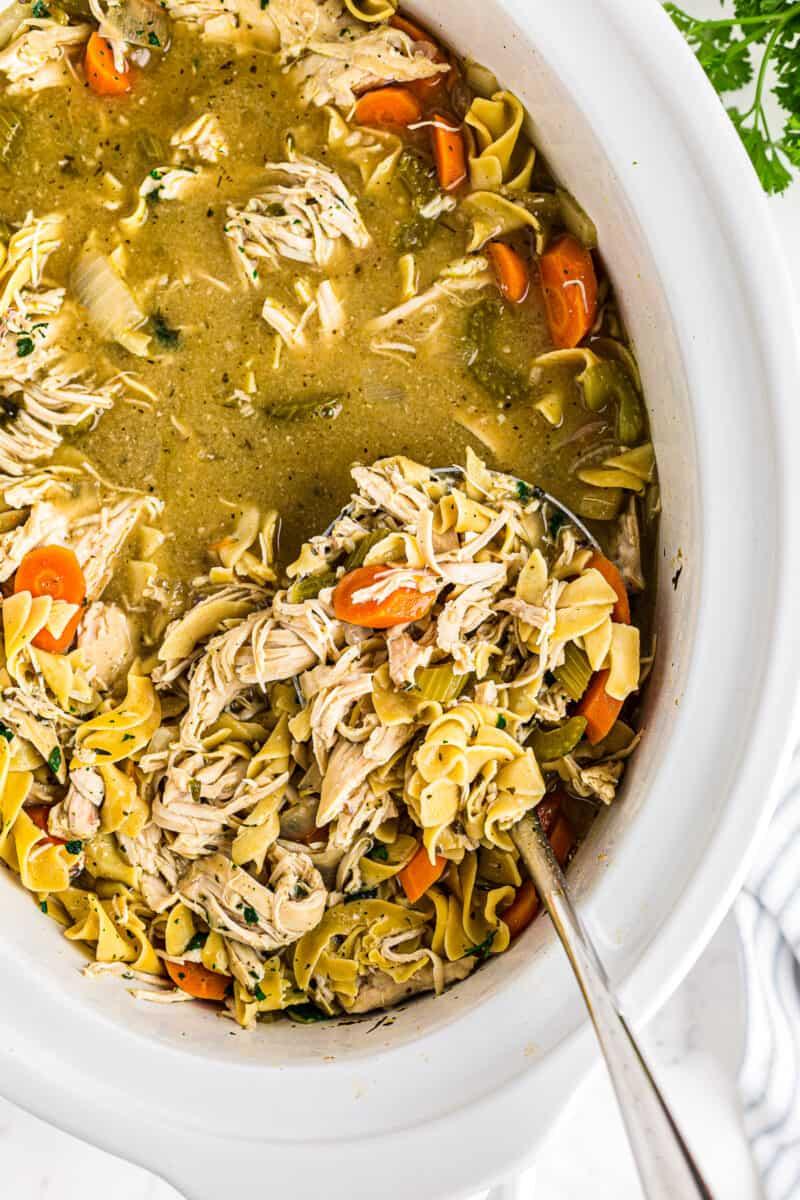crockpot chicken noodle soup with ladle