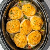 crockpot chicken pot pie in slow cooker
