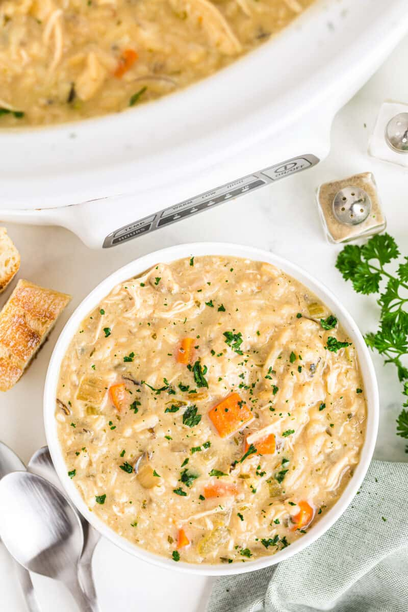 white bowl with chicken wild rice soup made in crockpot