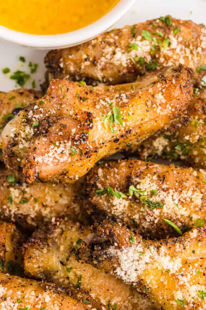 garlic parmesan wings on platter