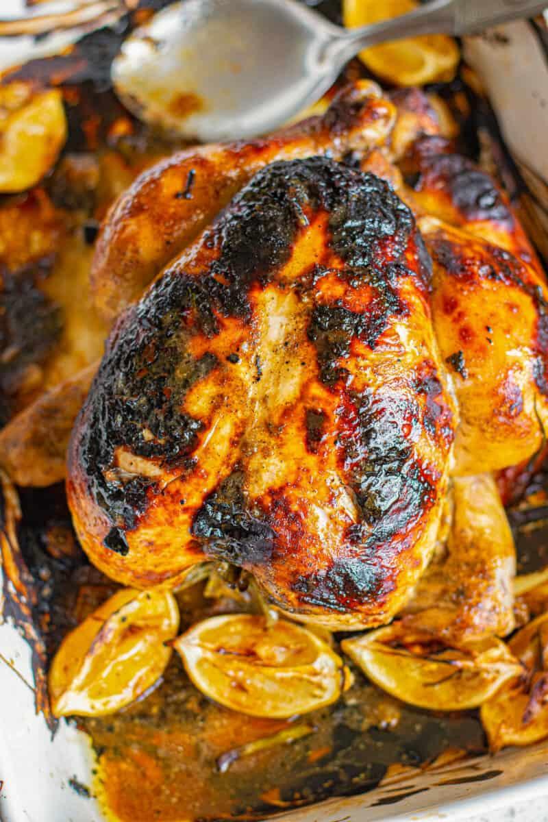 honey mustard roast chicken in baking dish