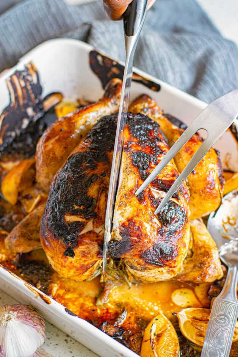 cutting honey mustard roast chicken