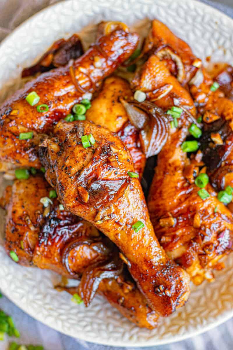 platter of honey soy chicken drumsticks