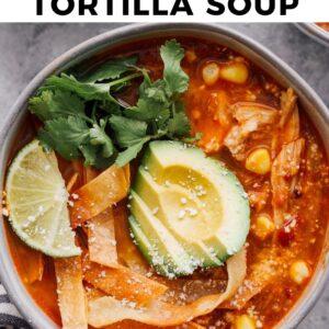 instant pot chicken tortilla soup pinterest collage