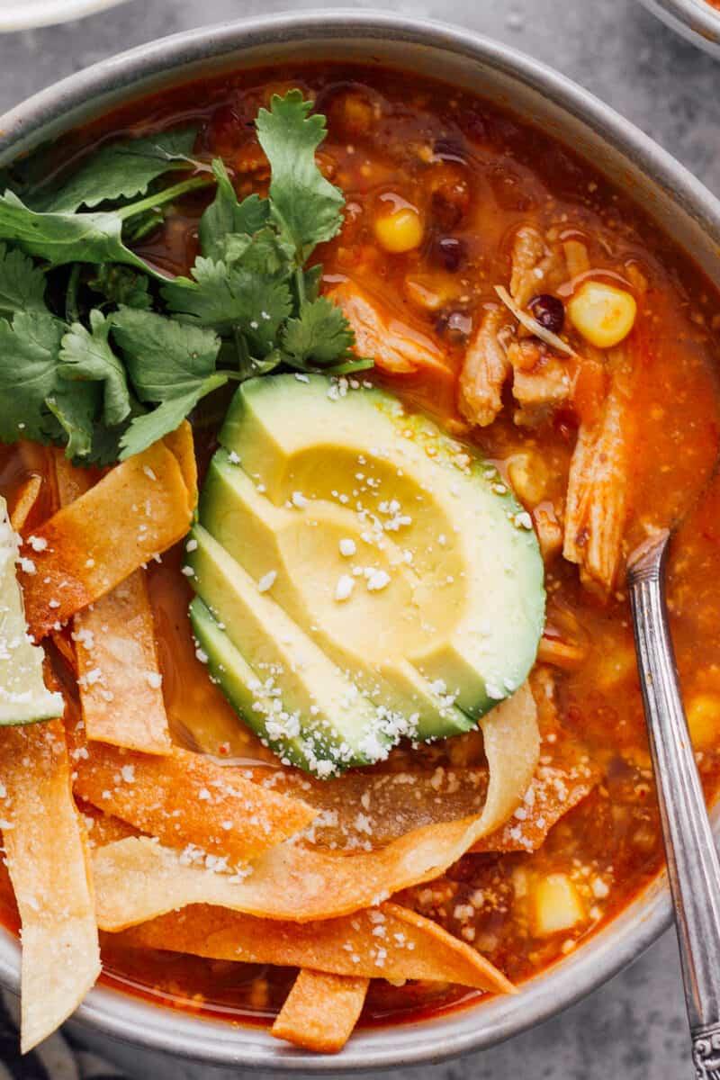 up close chicken tortilla soup