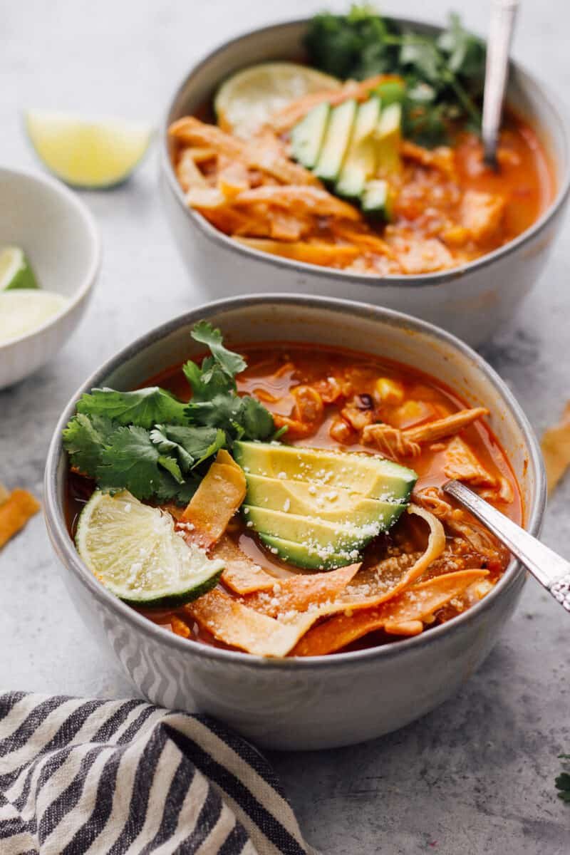 two bowls of instant pot chicken tortilla soup