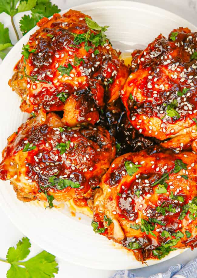 instant pot spicy chicken thighs on white plate