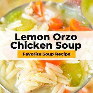 lemon orzo chicken soup pinterest collage