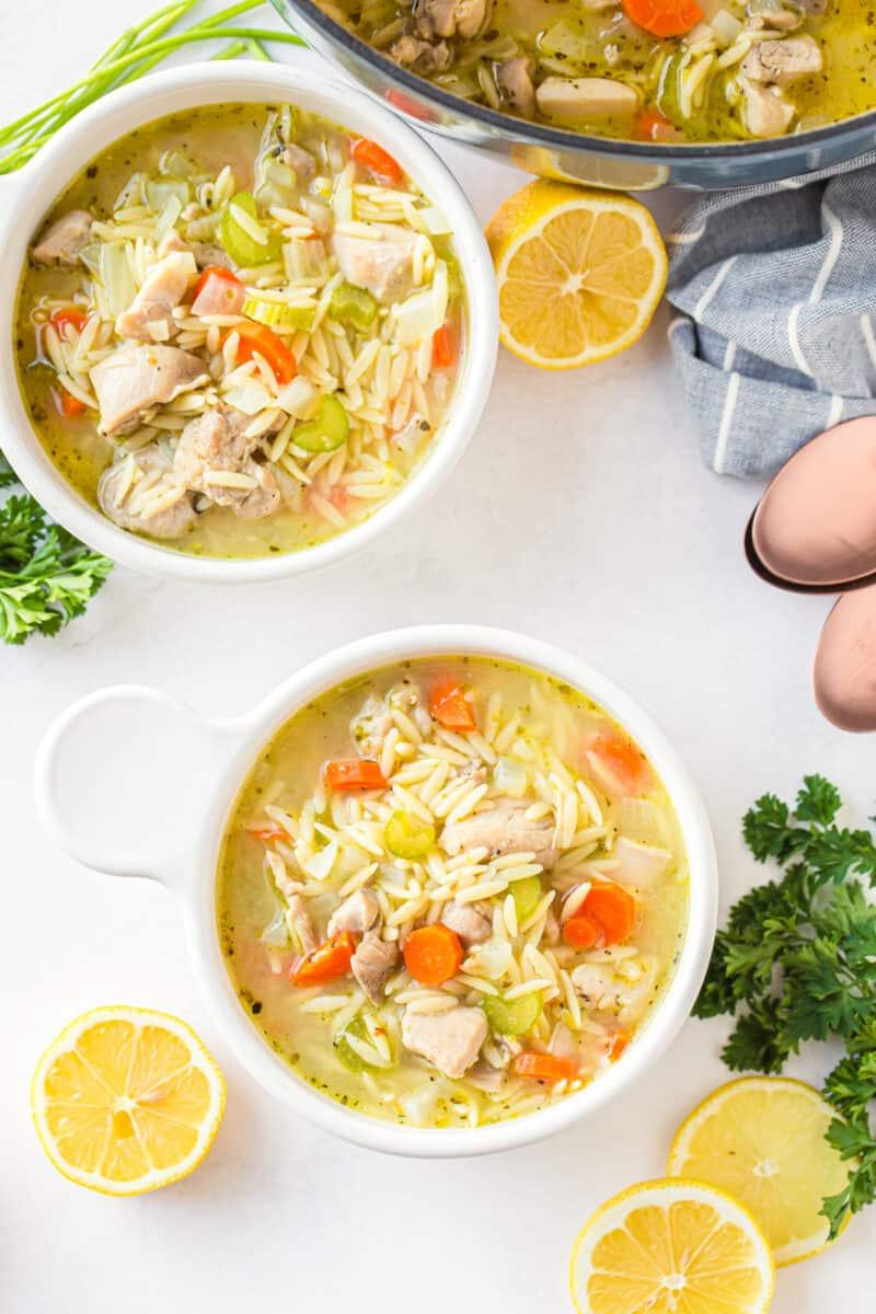 bowls of lemon orzo chicken soup