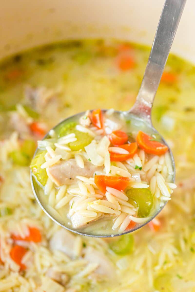 ladle of lemon orzo chicken soup