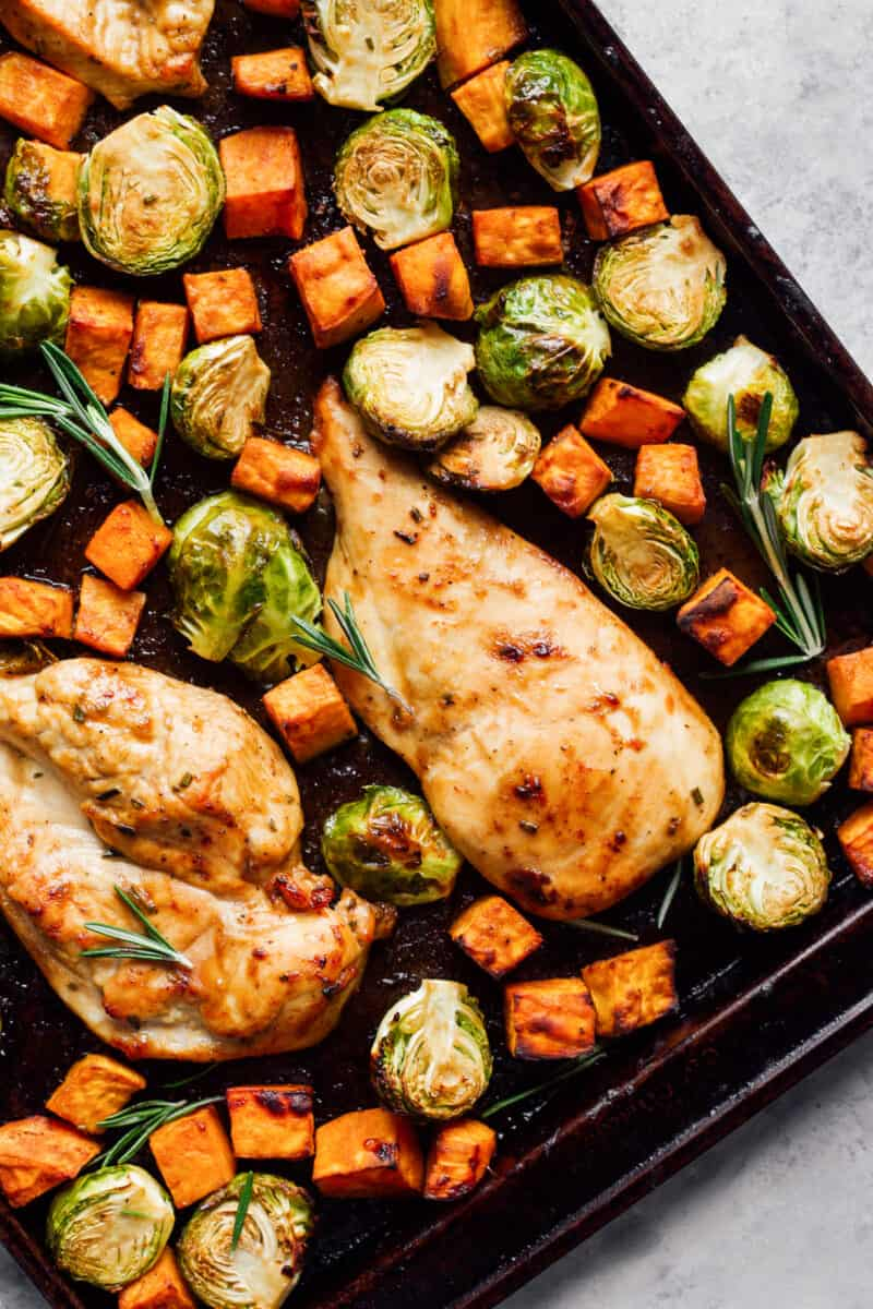 sheet pan maple dijon chicken with carrots and brussels sprouts