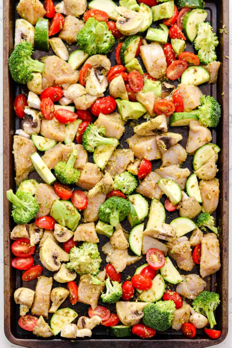 prepping sheet pan chicken and vegetables