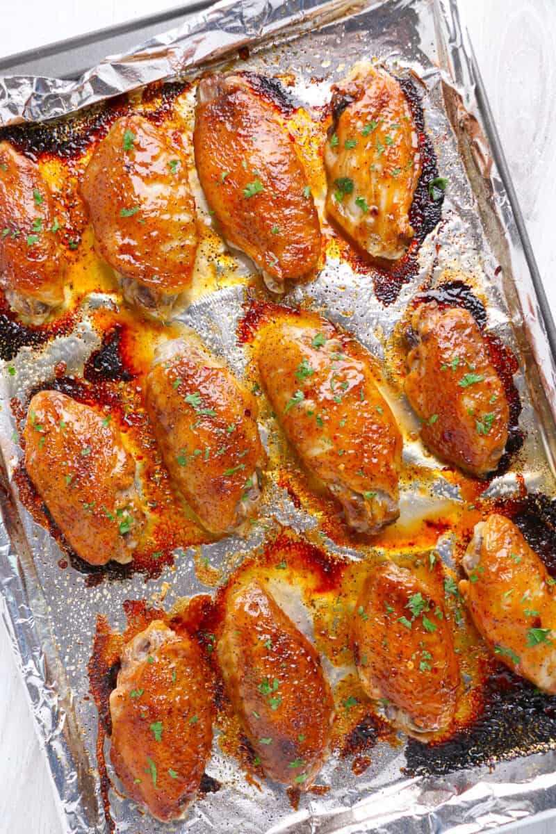 baked sweet chili chicken wings on sheet pan