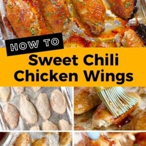 sweet chili chicken wings pinterest collage