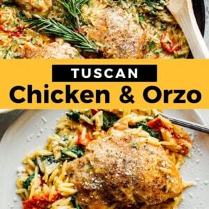 tuscan chicken and orzo pinterest collage