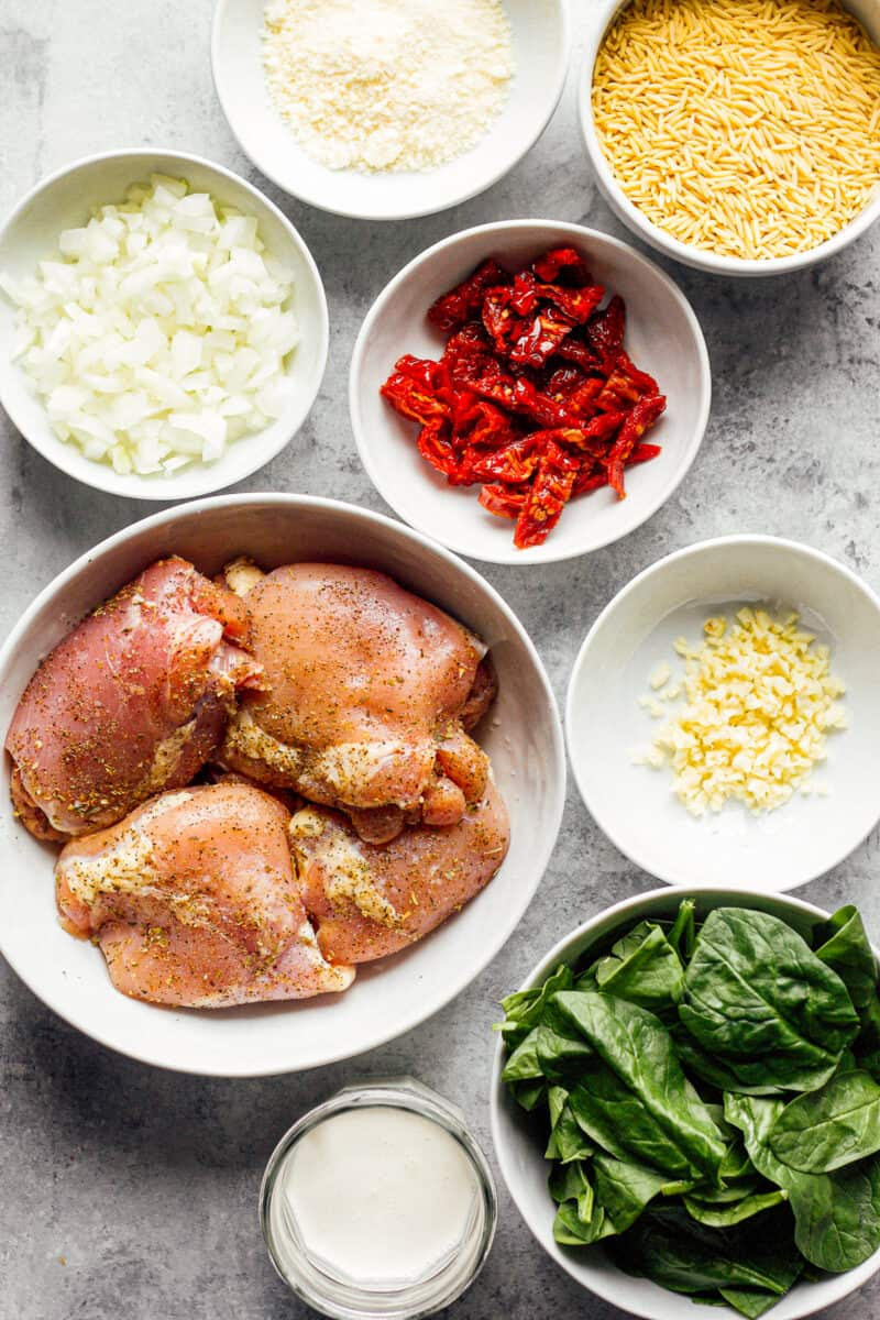 ingredients for tuscan chicken and orzo