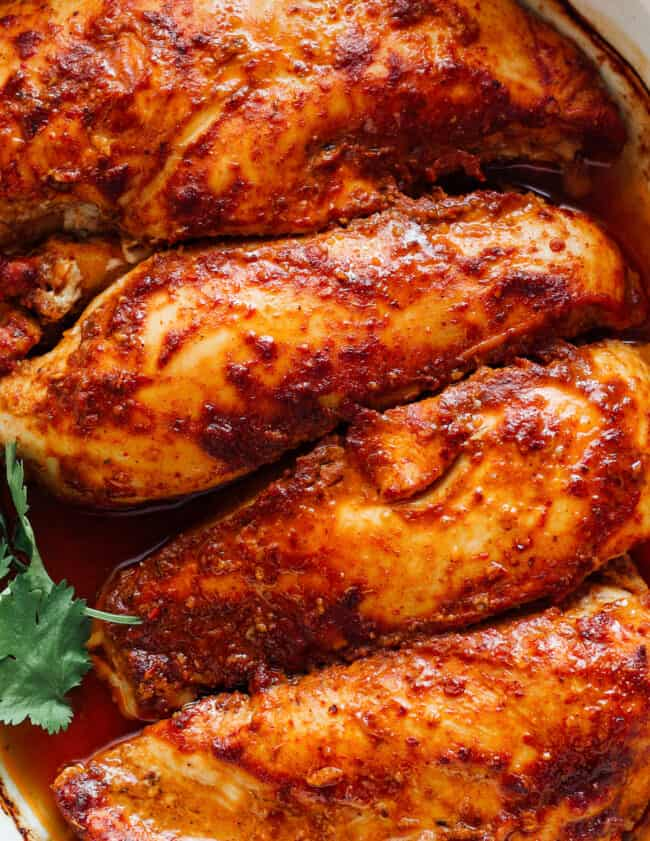 baked chipotle chicken in baking dish