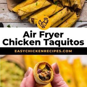 air fryer chicken taquitos pinterest collage