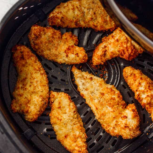chicken tenders cooked in an air fryer