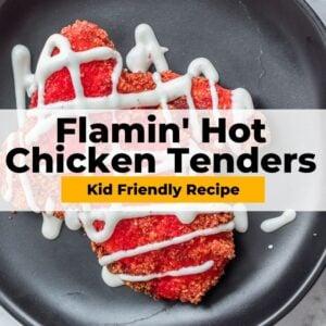air fryer flamin' hot chicken tenders pinterest collage