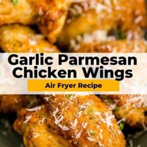 air fryer garlic parmesan wings pinterest collage