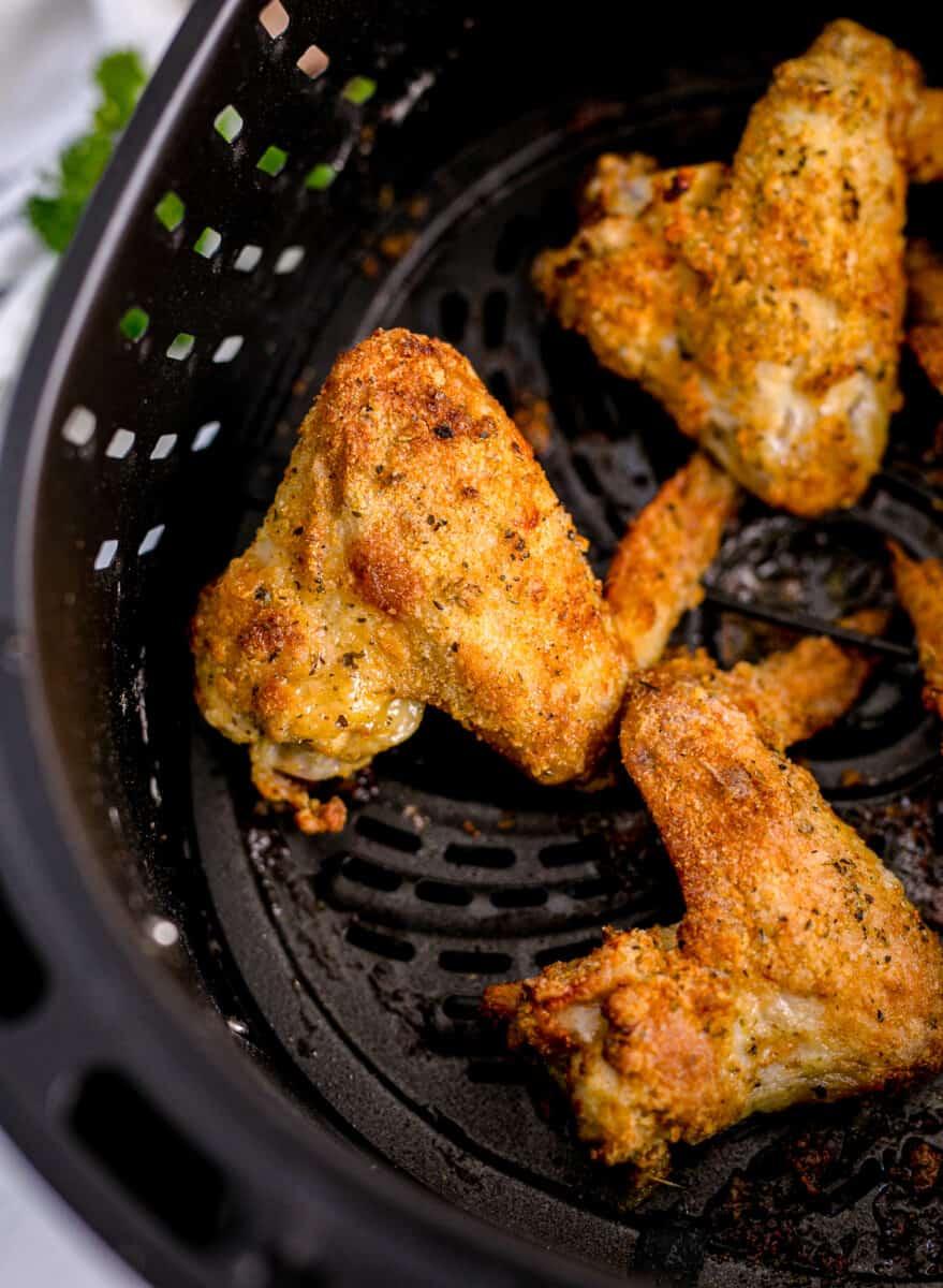 garlic parmesan wings in an air fryer