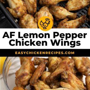 air fryer lemon pepper chicken wings pinterest collage