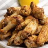 air fryer lemon pepper wings on plate