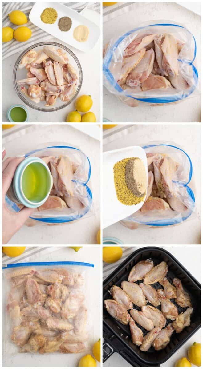 step by step photos for how to make air fryer lemon pepper chicken wings