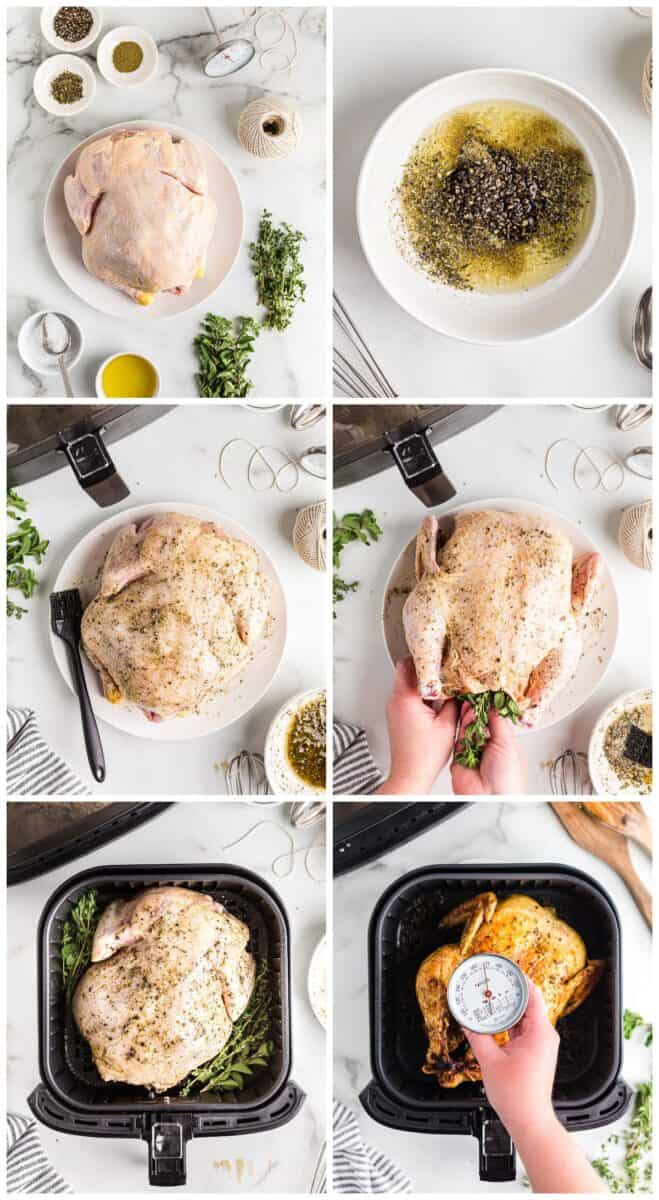 step by step photos for how to make whole chicken in an air fryer