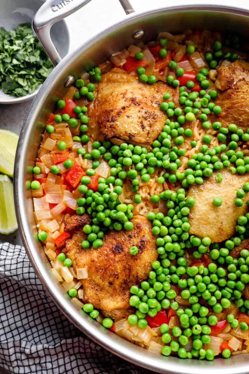 arroz con pollo in skillet