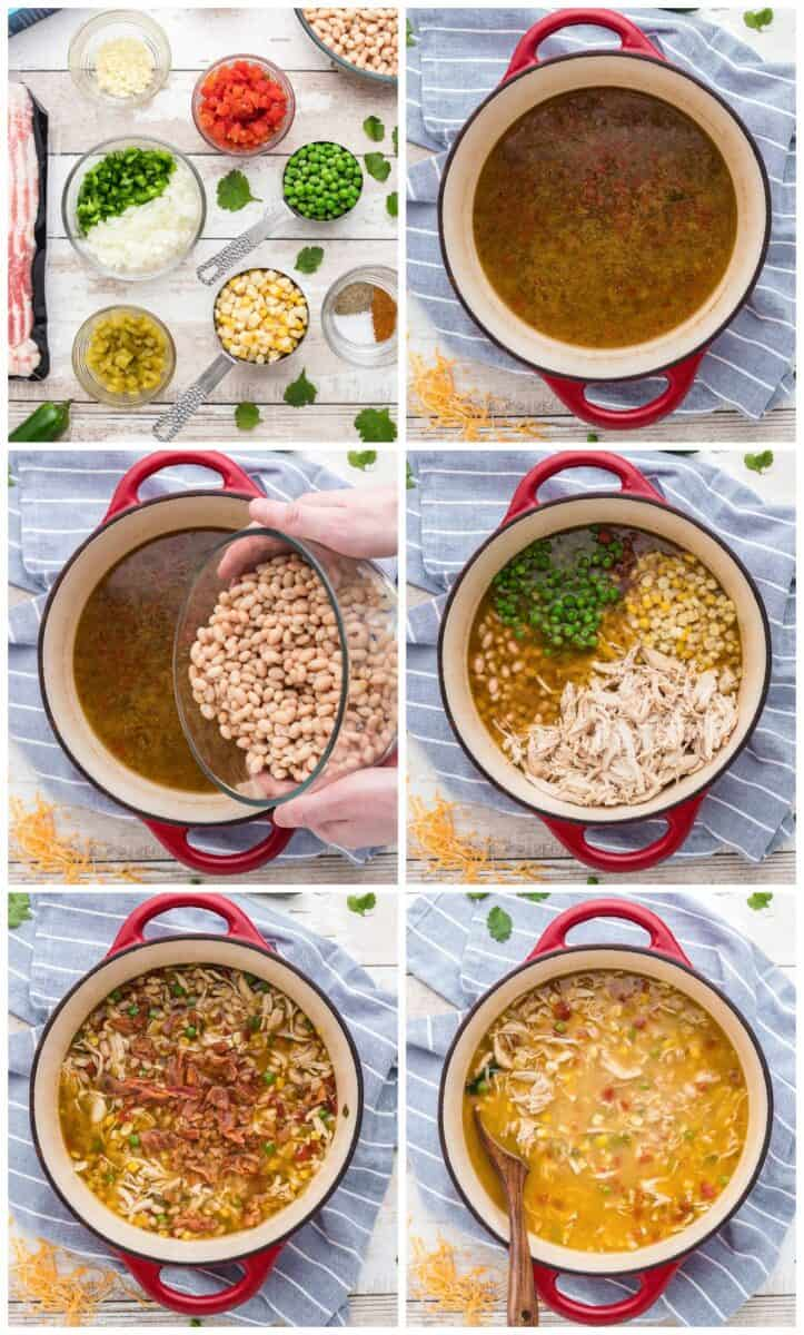 step by step photos of how to make bacon chicken chili