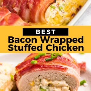 bacon wrapped stuffed chicken pinterest collage