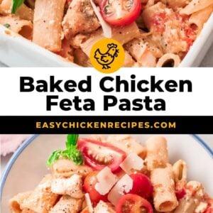 baked chicken feta pasta pinterest collage