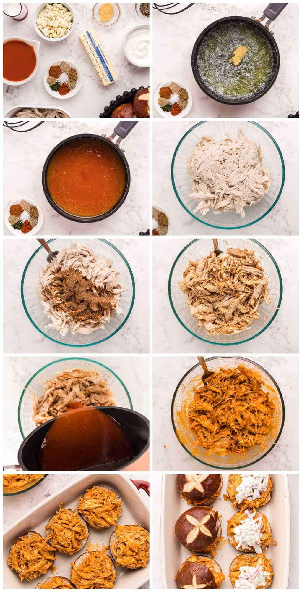 step by step photos of making buffalo chicken sliders