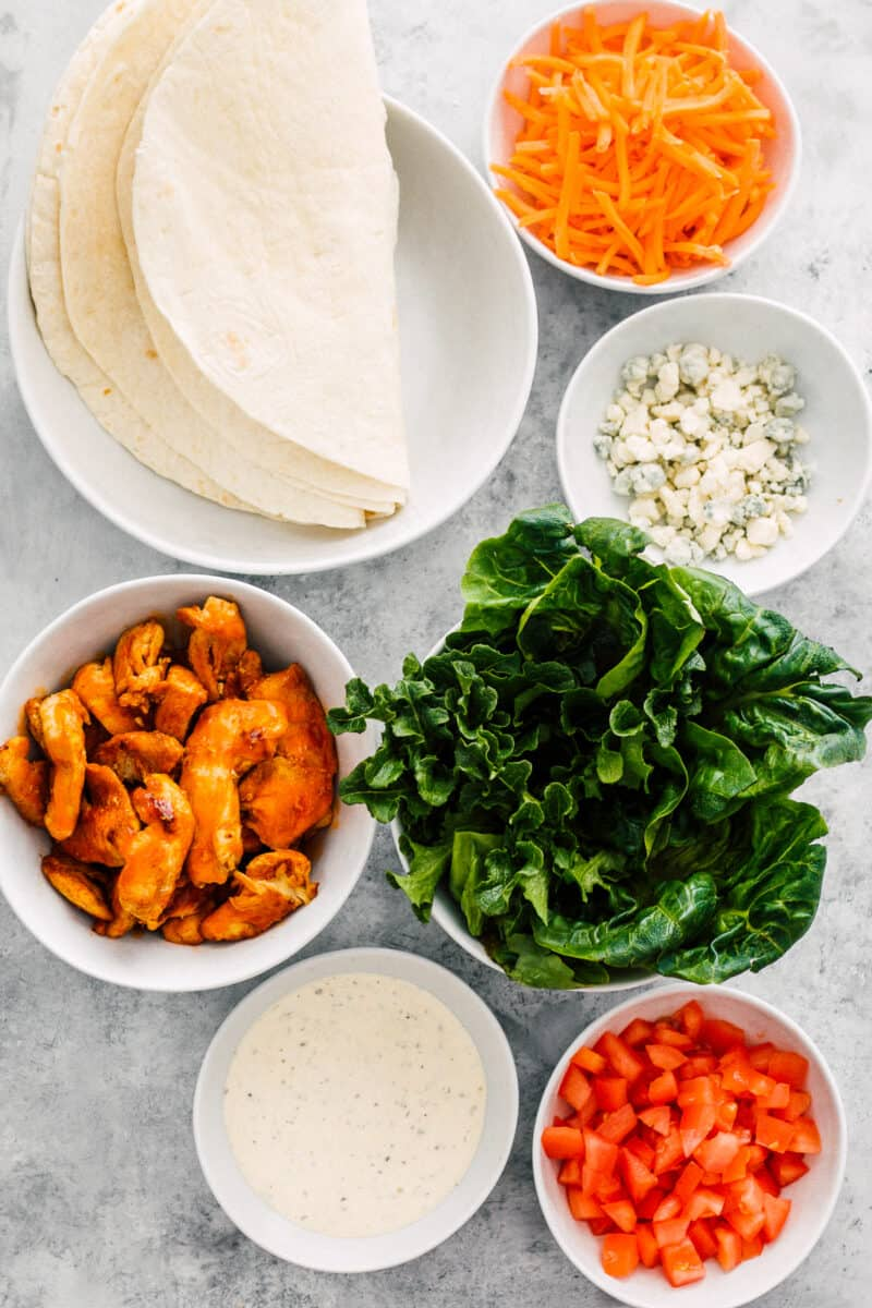 ingredients for buffalo chicken wraps