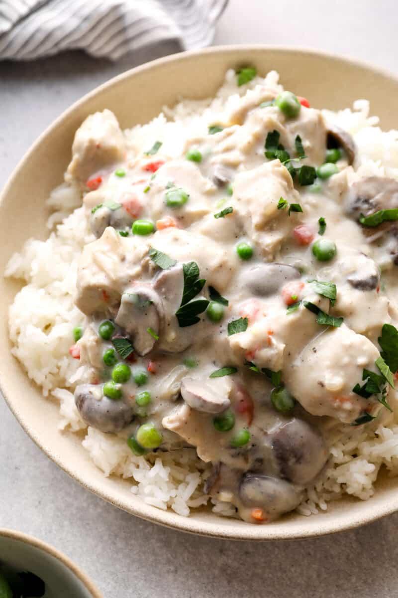 chicken a la king over white rice