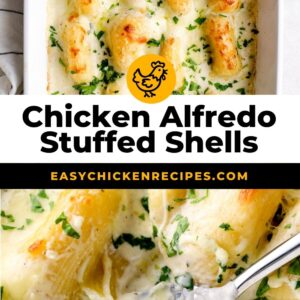 chicken alfredo stuffed shells pinterest collage
